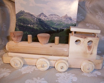 Toy Train Engine Handcrafted from Recycled Wood for the Kids Playtime