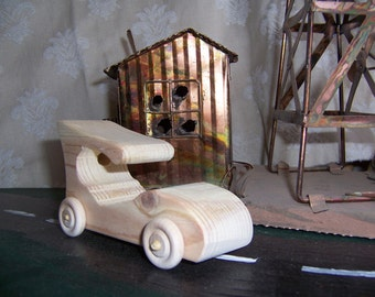 Toy Touring Car of Recycled Wood for the Kids, Children, Boys and Girls Creative Waldorf Gift WoodenToy
