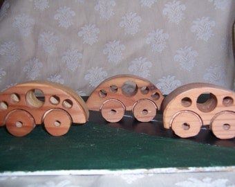 L'il Bit Wood Toy Bug Cars Set of 3 for Toddlers, Babies, Children, Kids, of Clean Recycled Wood