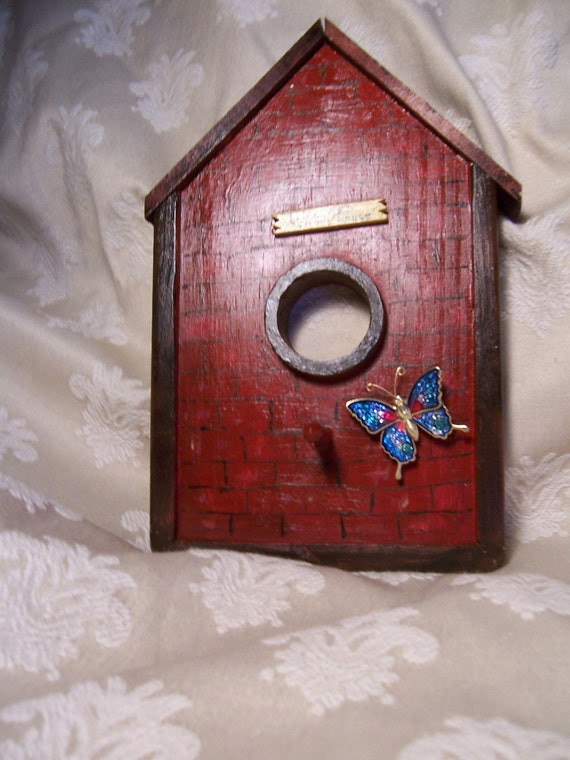 "Birdhouse ""Little Red Schoolhouse"" Plaque Handmade from Recycled Wood"