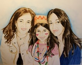Custom Watercolor Portrait from Photographs. Three Faces. Choose Size.