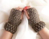 Pick your color/ Barley Taupe Perfectly Thick Crochet Fingerless Gloves Palm Wrist Warmers with Puff Stitch Cuffs