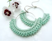 Crocheted Hoops with Aquamarine Seafoam Cotton Thread and Iridescent Matching Beads