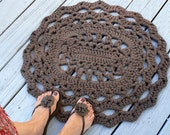 Cotton Oval Lace Thick Doily Kitchen or Bath Rug Crocheted in Dark Taupe or Pick your color with Non Slip Grip Bottom