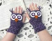 Crochet Owl Fingerless Gloves Wrist Warmers with Purple Felt,  Button Eyes and Multi Toned Purple Acrylic Yarn Size Woman's Regular OR Large