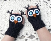 Crochet Owl Fingerless Gloves Wrist Warmers with Teal Felt,  Button Eyes and Black Acrylic Yarn Size Woman's Regular OR Large