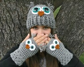 Adult Owl Hat with Aqua Safety Eyes and Crocheted with Gray Acrylic Yarn Woman's Sizes