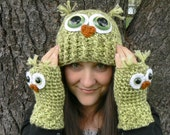 Crochet Owl Fingerless Gloves Wrist Warmers with Green Safety Eyes and Soft Multi Toned Green Acrylic Yarn Woman's Sizes - MakingsofShannaTice