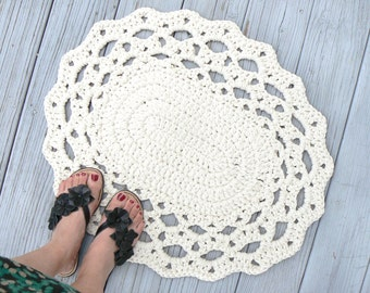 Pick your Color Rug/ Cotton Oval Lace Thick Doily Kitchen or Bath No Slip Grip All Purpose Mat