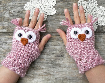Crochet Owl Fingerless Gloves Wrist Warmers with Pink Safety Eyes and Soft Multi-Toned Pink Acrylic Yarn Woman's Sizes