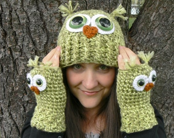 Crochet Owl Fingerless Gloves Wrist Warmers with Green Safety Eyes and Soft Multi Toned Green Acrylic Yarn Woman's Sizes