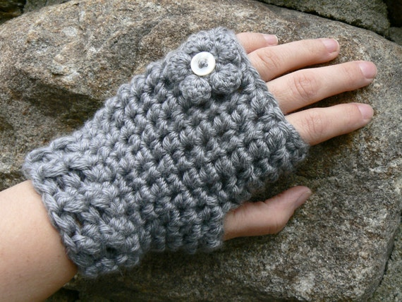 Pick your color KISS Gray Fingerless Gloves with a Mini Button Center Flower Crocheted with Vegan Friendly Acrylic Yarn