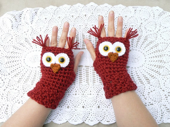 Crochet Owl Fingerless Gloves Wrist Warmers with Yellow Safety Eyes and Soft Red Acrylic Yarn Woman's Sizes