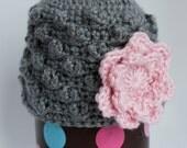 Crochet Baby Girl Bobble Hat