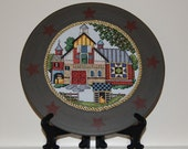 Quaker Barn Quilt (Number 3) Cross Stitch Framed Plate