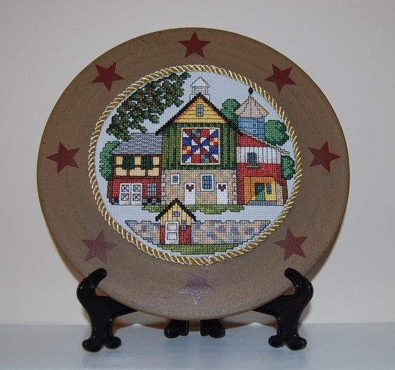 Quaker Barn Quilt (Number 2) Cross Stitch Framed Plate