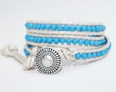 SALE SALE Turquoise Howlite Beads on a Metallic Silver Leather Wrap Bracelet. 2 - 3 Wraps or Layers