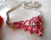 Gorgeous Vintage Rhinestone  Necklace PINK marquis and Clear Crystals