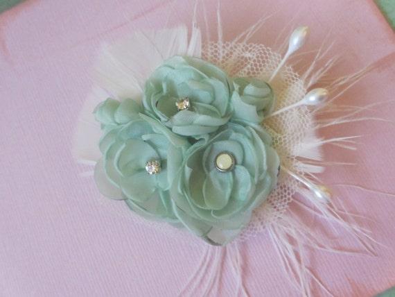 MInt and Cream Hair Flower