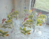 Vintage Signed Set of 5  Floral Water Glasses Neiman Marcus