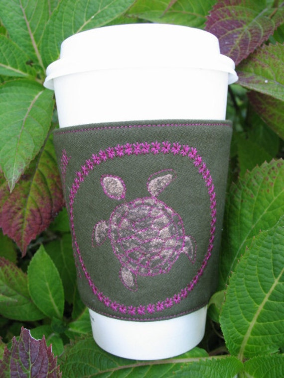 Sea Turtle Coffee Cozy Coffee Sleeve Coffee Cuff Coffee Zarf