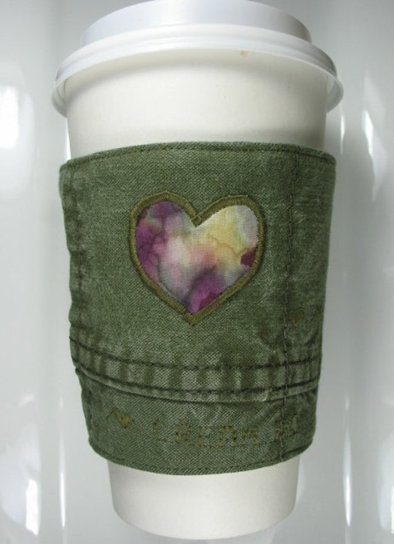 Coffee Cup Cozy Sleeve - Heart - Upcycled Army Green Military Canvas Fabric