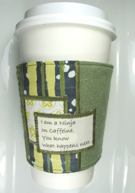 Coffee Cup Cozy - Ninja on Caffeine - Humor