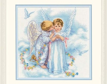 Cross Stitch Kit - ANGEL KISSES - Dimensions angels counted cross stitch kit needlework kit needlecraft kit angel cross stitch angels