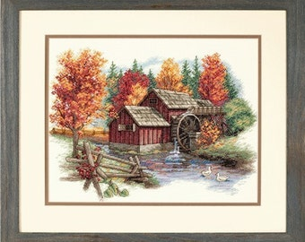 Cross Stitch Kit - GLORY OF AUTUMN - Dimensions Counted Cross Stitch Kit autumn fall trees mill house river brook scenic needlework kit