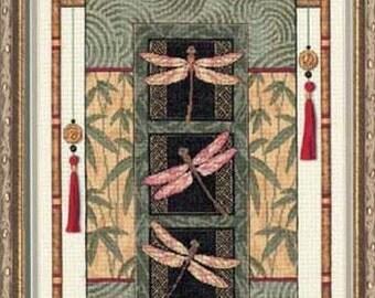 Cross Stitch Kit - DRAGONFLY SCROLL - Dimensions Gold oriental scroll counted cross stitch kit - dragonfly cross stitch dragonflies