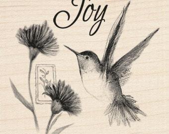 HUMMINGBIRD JOY - Rubber Stamp - Inkadinkado wood mounted rubber stamp Spring Bird Rubber Stamp, hummingbird rubber stamp, joy rubber stamp