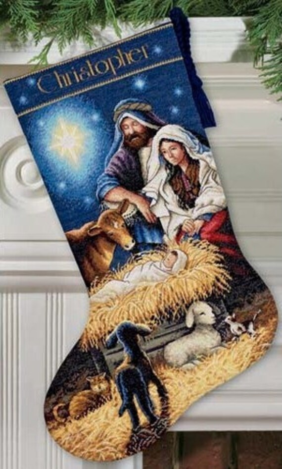 Cross Stitch Kit - HOLY NIGHT STOCKING - Dimensions Christmas Nativity Stocking counted cross stitch kit needlework holy family cross stitch