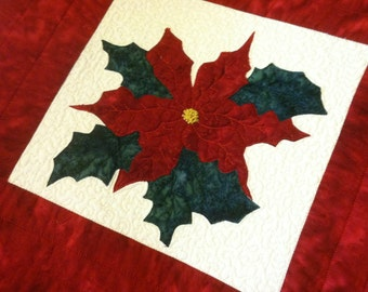 Made to Order Quilted Table Runner Holiday Poinsettia and Holly Leaves Quiltsy Handmade