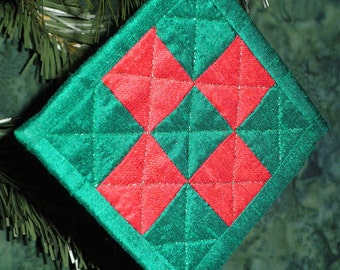 Quilted Green and Red Silk Dupioni Nine-Patch Quiltsy Handmade