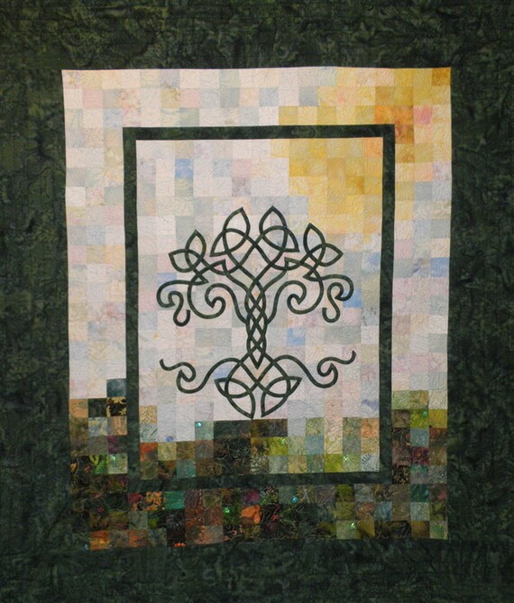 Art Quilt - Tree of Life in Summer Wall Hanging