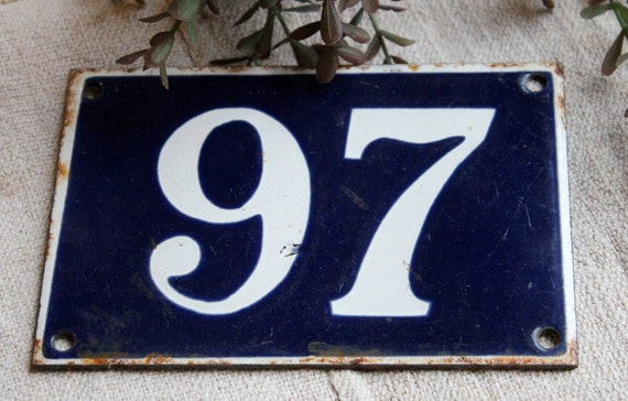 Old Enamel House Number 97 By Brocanteriebelleami On Etsy