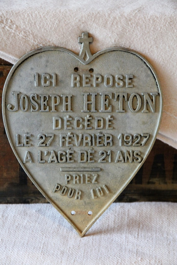 French memorial plaque from 1927