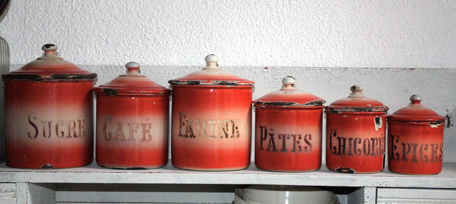 unique french canister set red