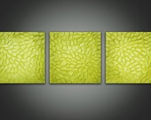 Abstract Acrylic Paintings - Moss Green Heavy Texture - Three 10 x 10 Original Paintings