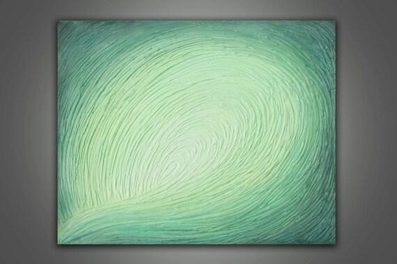 Acrylic Painting - Abstract Aqua Lime Green Wave 24 x 30