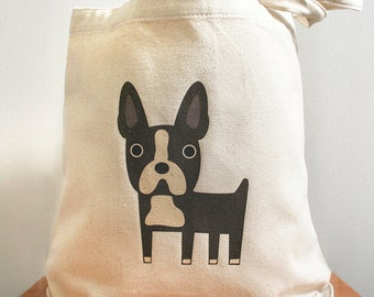 Canvas tote bag, boston terrier, boston terrier tote bag, dog tote bag