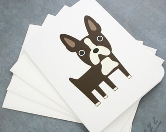 Boston Terrier note cards. (set of 6)