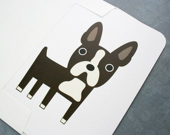 Boston Terrier card. Blank for own personal message.