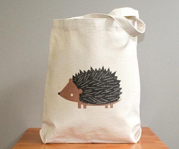 Canvas tote bag, hedgehog canvas tote bag
