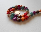 Colorful Howlite Skull Beads - 12mm - one strand (33 pcs)