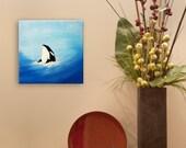 Mini Art Orca Whale : Contemporary Acrylic Art Northwest Life FREE SHIPPING