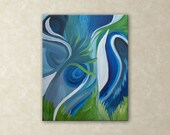 Abstract Green Blue Art : Modern Contemporary Art Acrylic Painting FREE SHIPPING