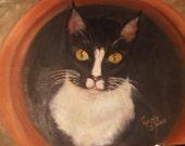 Cat in a Pot-oil-9x12-wrap around canvas-