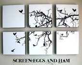 NEW white/black BIRD TREE Hand Pulled Screen Print Large Set of 6