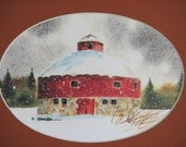Round Red Barn in a Rustic Frame
